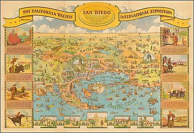 California Pacific Exposition 1935 pictorial map POSTER Bloodgood 43314