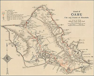 Island Oahu City and County Honolulu Hawaii 1922 Pictorial map POSTER 50355