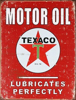 "Texaco Motor Oil Lubricates Perfectly Vintage Tin Sign 13"" x 16"""