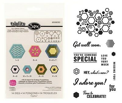 Sizzix Triplits Dies - Hexagons - 14 Dies & Fiskars Hexagon Sentiments Stamps
