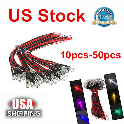 5x/10x/30xPre Wired DC12V Water Clear LED Diodes Light Pre-soldered Micro LEDs