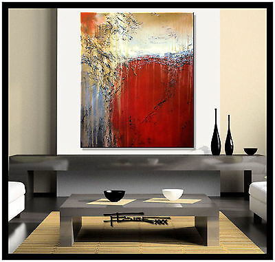ABSTRACT PAINTING CANVAS WALL ART Large 36in. Signed USA Red ELOISExxx