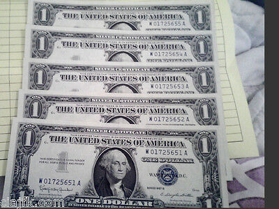 50 Un-Circulated Consecutive Serial Numbers 1957B $1 Silver Certificates----- }