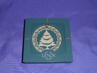 Vintage Lenox Yuletide Christmas Tree Ornament Pierced Ivory Porcelain