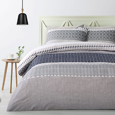 Shiera Navy Geometric Doona Duvet Quilt Cover Set - SINGLE DOUBLE QUEEN KING