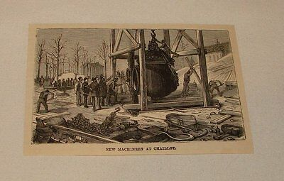 1886 magazine engraving ~ NEW MACHINERY AT CHAILLOT, France