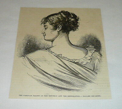 1878 magazine engraving ~ MADAME JULIETTE RECAIMER, Paris, France