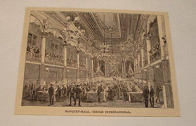 1885 magazine engraving ~ CERCLE INTERNATIONAL, Le Havre, France