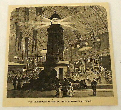 1881 magazine engraving ~ LIGHTHOUSE AT ELECTRIC EXHIBITION ~ Paris, FRANCE