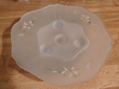 Frosted Glass reverse painted 3 legged plate