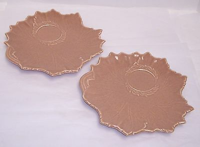 Steubenville Woodfield Coral Salmon Pink Luncheon Tea Toast Plates Leaf Shape 2