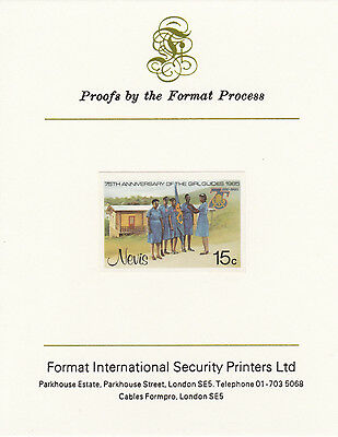 Nevis 3344 - 1985 GIRL GUIDES 15c on FORMAT  INTERNATIONAL  PROOF  CARD