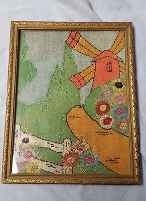 Vintage, Framed, Hand Embroidered Fabric  Picture Of Traditional Windmill