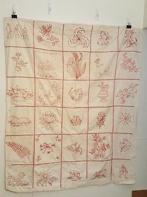 Vintage 1897 Hand Made RED WORK Cross Stitch Embroidery Baby Crib Sheet