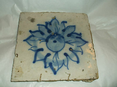 """Antique BLUE AND WHITE   SUN  or sunflower?  TILE 6"""" sq"""