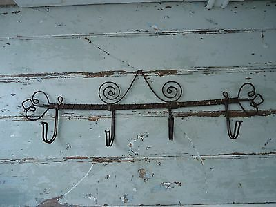 "Antique French ""Twisted Wire Hook Rack"" Wall Mount"