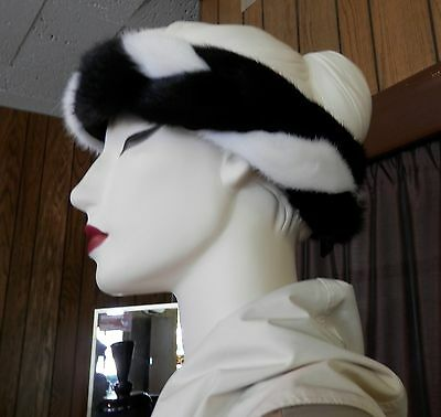 NWT Unique Black and White Braided Quality Mink Fur Headband - adjustable size