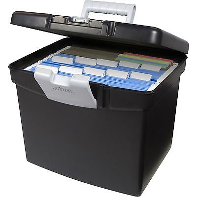 Storex Black Portable Filing Cabinet Hanging File Folder Box XL With Storage Lid