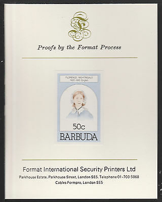 Barbuda (628) 1981 Florence Nighting  imperf on Format International PROOF  CARD