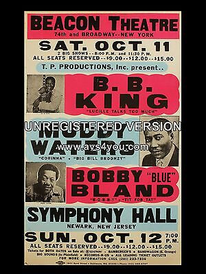 """BB King / Muddy Waters New York 16"""" x 12"""" Photo Repro Concert Poster"""