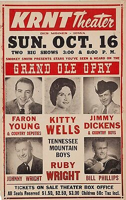 "Kitty Wells Grand old Opry 16"" x 12"" Photo Repro Concert Poster"