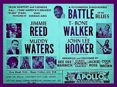 """Muddy Waters / John Lee Hooker Apollo 16"""" x 12"""" Photo Repro Concert Poster"""