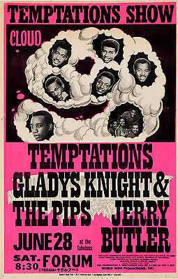 """Temptations / Glady Knight Forum 16"""" x 12"""" Photo Repro Concert Poster"""