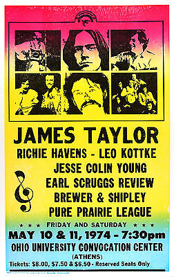"James Taylor Ohio 1974 16"" x 12"" Photo Repro Concert Poster"