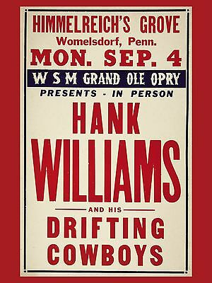 "Hank Williams 16"" x 12"" Photo Repro Concert Poster"