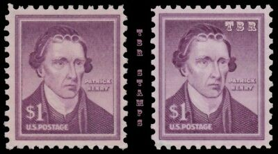 1052 1052a Patrick Henry $1 Liberty Issue Wet Dry Print Variety Set MNH -Buy Now