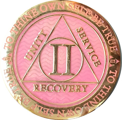 2 Year AA Medallion Pink Gold Plated Alcoholics Anonymous Sobriety Chip Coin Two