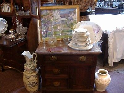Marble Top Washstand Commode Farmhouse Chic Vintage Antique