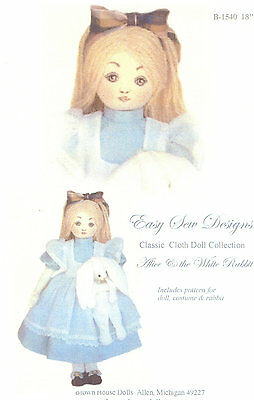 Doll Pattern Classic Cloth Doll Design Alice and the White Rabbit BHD 1540