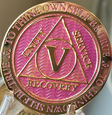 5 Year AA Medallion Lavender Pink Gold Alcoholics Anonymous Sobriety Chip Coin