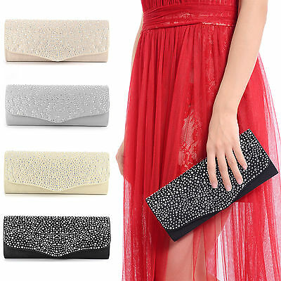 Ladies Diamante Party Bag Prom Bridal Wedding Evening Clutch Bag Purse Handbag