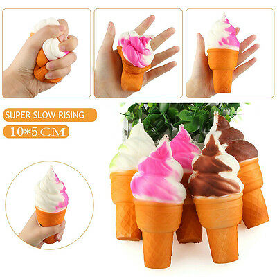 Ice Cream Slow Rising Squeeze Squishy Stretch Phone Strap Relieve Vent Toy U87