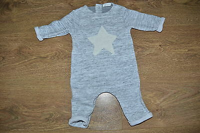 NEXT up to 3 Months (6kg/14lbs) UNISEX GREY MARL ROMPER/ALL IN ONE SUIT & STAR
