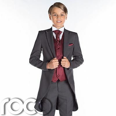 Boys Grey Tail Suit, Wine Waistcoat, Page Boy Suits, Wedding Suits, Boys Suits