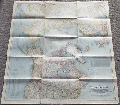 The Top of The World - Vintage 1949 National Geographic Society Map