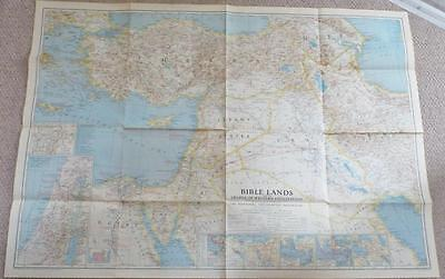 Bible Lands - Vintage 1938 National Geographic Society Map -  Pre Israel