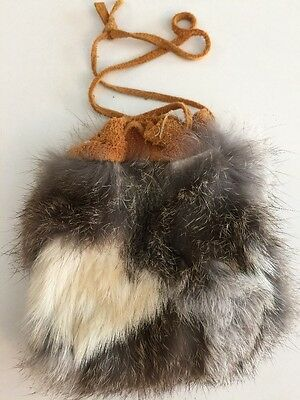 Small Suede & Fur Drawstring Pouch Bag