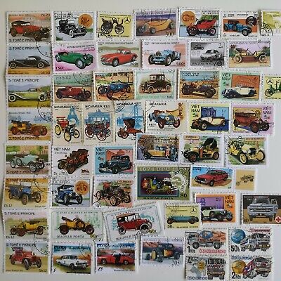 300 Different Cars/Motor Vehicles/Automobiles on Stamps Collection