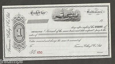 Baltimore circa 1900 - Furness Withy & Co Ltd. First of Exchange Note MINT
