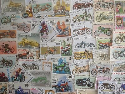 100 Different Motor Bikes/Motor Cycles on Stamps Collection
