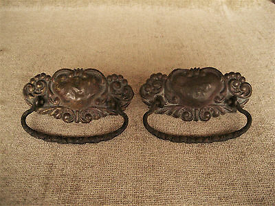 Antique Brass Ornate Stamped Plate & Bail Pull Handle Drawer Hardware Lot Of 2