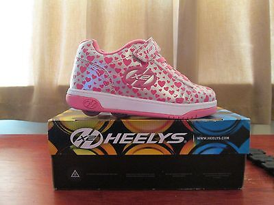 Heelys Dual Up shoes size UK2 silver colour with pink hearts