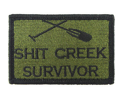 S**t Creek Survivor Green & Black Hook & Loop Tactical Funny Morale Tags Patch