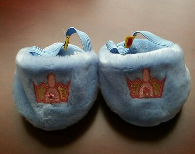 BUILD A BEAR SOFT BLUE CROWN PRINCESS BEDROOM SLIPPERS w EMBELLISHMENTS