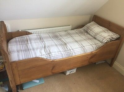 Antique Pine French Sleigh Bed And Memory Foam Mattress