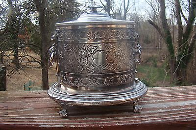 Antique Claw  Footed Chased  Silver Plate Tea Caddy/ Biscuit Jar - Shaw & Fisher